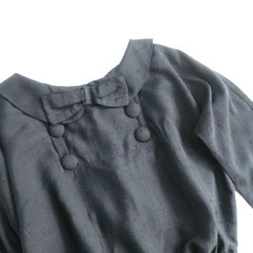 50〜60's navy flat collar ribbon dress