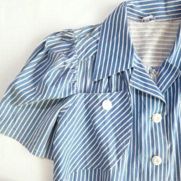 40's cotton stripe dress