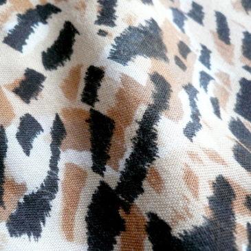 80's gray dress & leopard wide pants