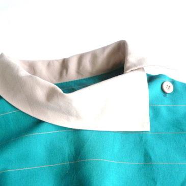 70's emerald green ×beige dress
