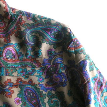 50's black silk satin wide pants & 80~90's paisley bow tie blouse