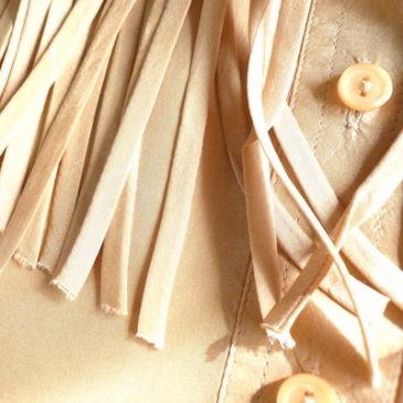 80~90's silk fringe shirts & gray corduroy pants
