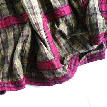 90's moss green check maxi skirt & flannel cut sew