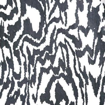 50's mono tone moire patten cotton dress