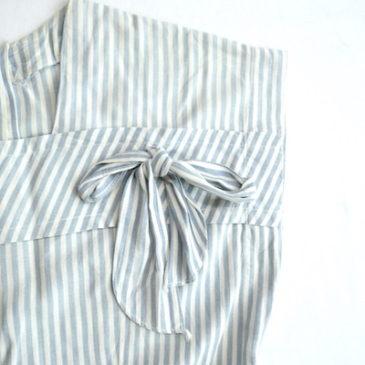 50's stripe ribbon cotton dress