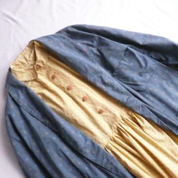 50's yellow cotton dress & 60's blue gray robe