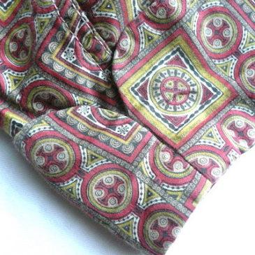 60's arabic pattern cotton gown & 70's black velour skirt