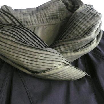 80's reversible pleated collar coat & mustard yellow skirt