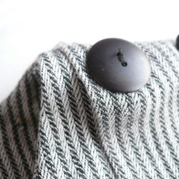 80's black gray herringbone dress