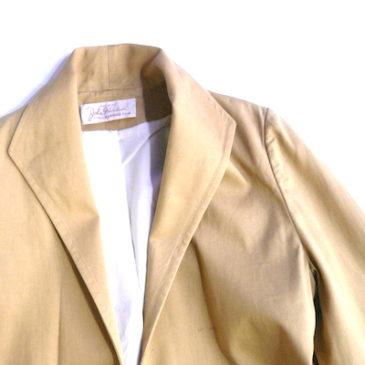 60's mustard yellow cotton long coat & 80's gray slacks