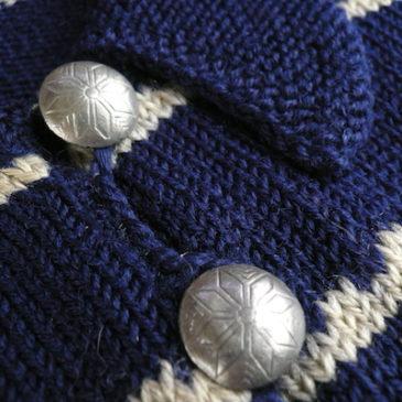 50's concho button knit & black quilting circular skirt