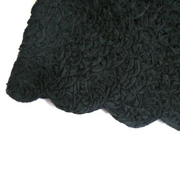 50's fur collar black ribbon jacket & navy wool slacks