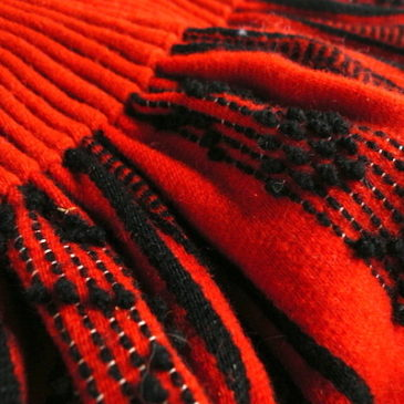 70〜80's red black woven cloth skirt & used black shaggy knit cardigan