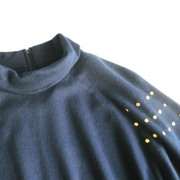 late 70~80's gold studs navy dress