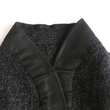 80's black mohair cardigan & military trousers