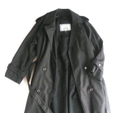 80's black trench coat & red black pattern dress