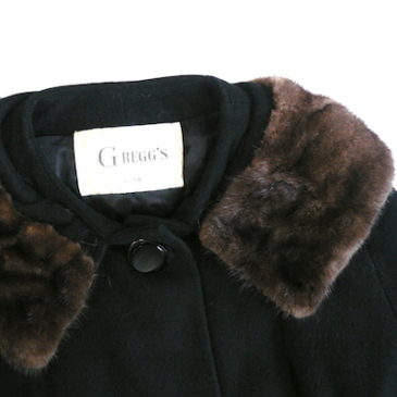 60's black cashmere fur collar coat
