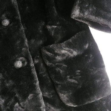 60's black fake fur coat