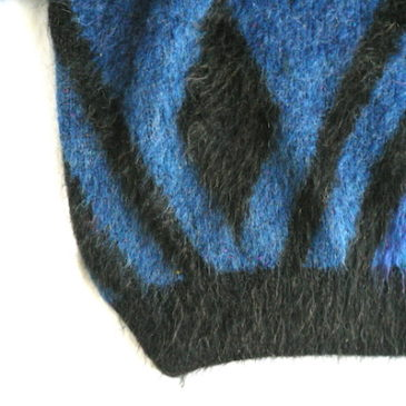 80's blue black pattern mohair sweater & accordion pleats skirt