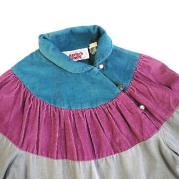 70's pink gray blue coduroy dress