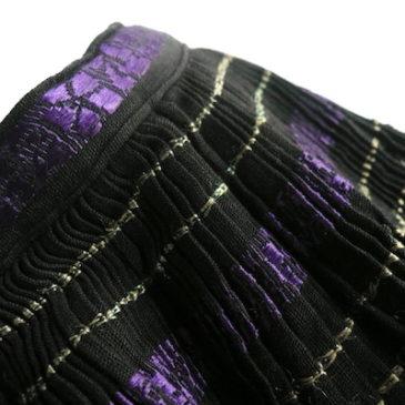 50〜60's V-neck black knit sweater & 70's〜 ethnic gather skirt