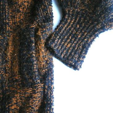 late 80〜90's orange brown plaid long knit