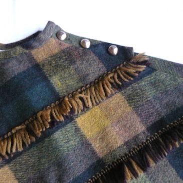 70's fringe plaid poncho & 90's glitter high neck knit