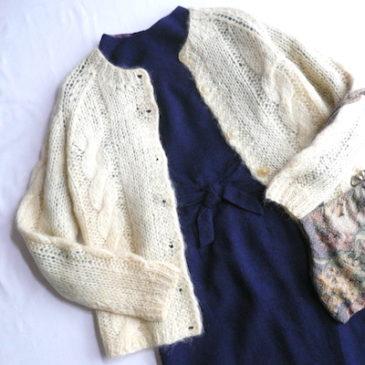 50〜60's navy wool ribbon dress & 70's ivory mohair knit cardigan