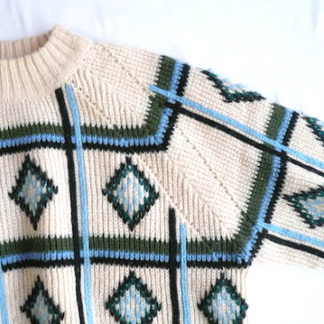60's diamond-pattern knit sweater &  50's plaid flair skirt