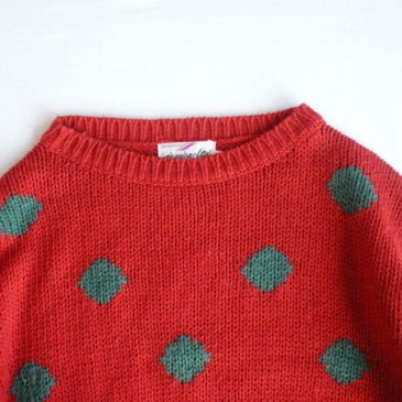 80's red green dots sweater & black high neck knit dress