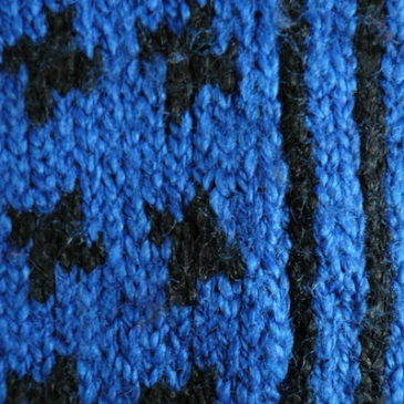80's blue black knit sweater with muffler