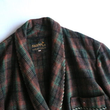 50〜60's plaid wool long gown