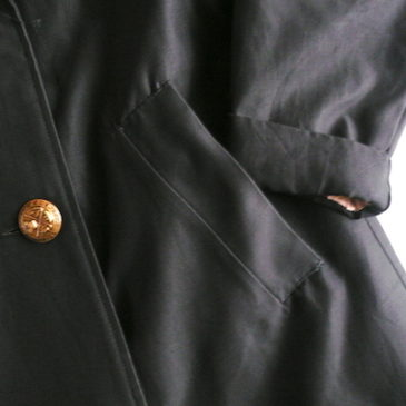 60's boa lining black coat & 40〜50's navy wool skirt