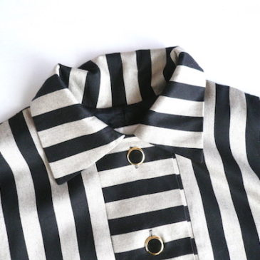 80's black beige stripe shirts dress