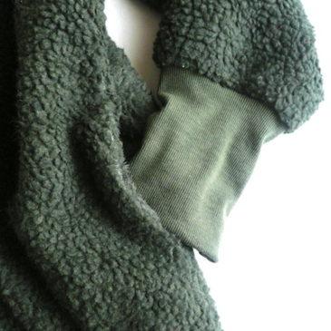 90's〜 olive green boa half coat & orange black glitter long tight skirt