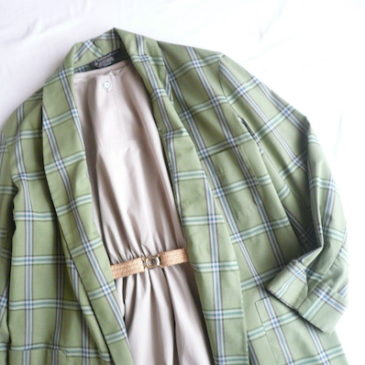 70's green plaid gown & 80's light beige dress