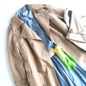 70's beige trench coat & 80's blue chambray shirt dress