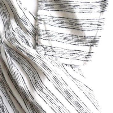 80's light green cotton jacket & white black stripe dress
