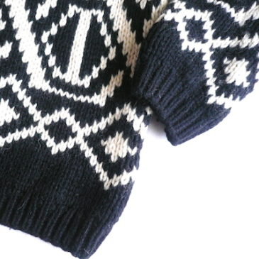 used black white pattern knit sweater