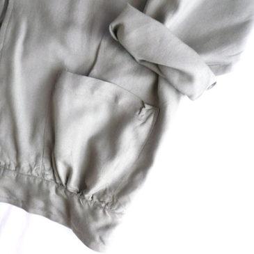 80〜90's khaki green rayon jacket & beige silk flared skirt