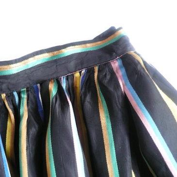 50's short sleeve green knit sweater & malti color stripe  skirt
