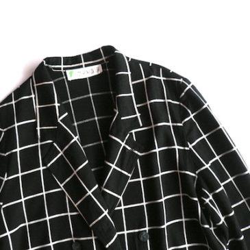 80〜90's windowpane double-breasted JKT & purple skirt