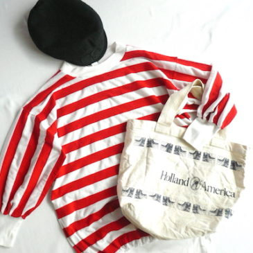 Late 70~80's red white stripe tops & Holland America Line tote bag