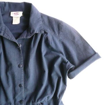 80's navy cotton shirt dress