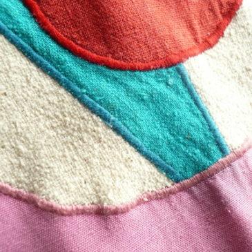 70's cotton applique gown jacket
