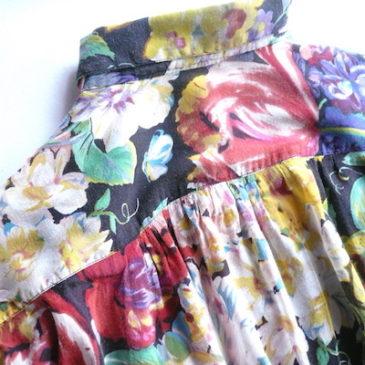 90's flower printed shirt & cotton linen easy pants