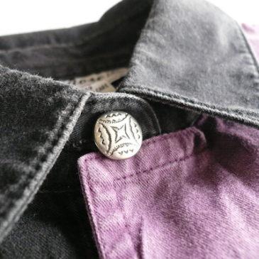 90's purple flap cotton shirts & denim skirt