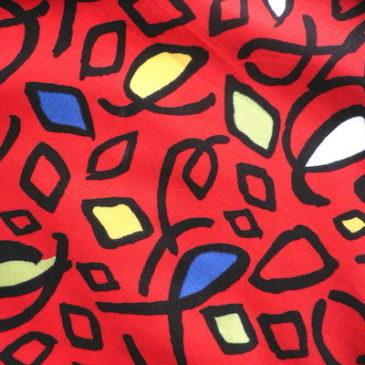 80〜90's red pattern rayon dress