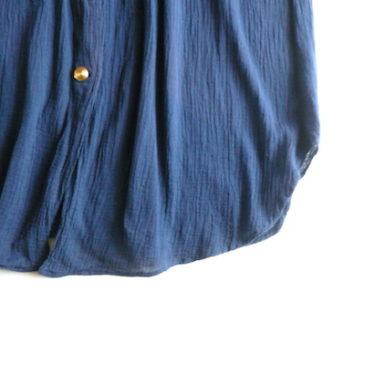 90's gold button navy dress
