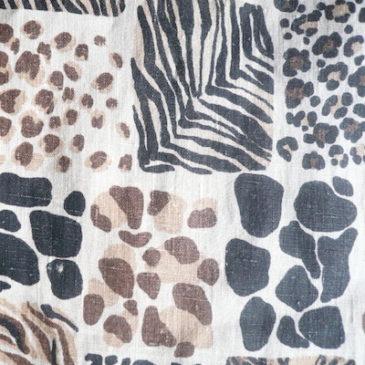 80's Albert Nipon black dress & Used leopard linen easy pants